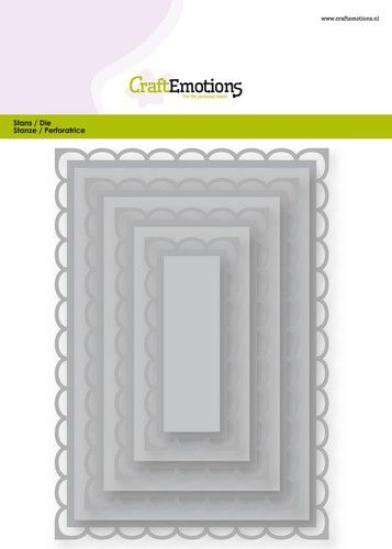 Craft Emotions- Big nesting Die- Rechthoek scalop XL: 115633/0923