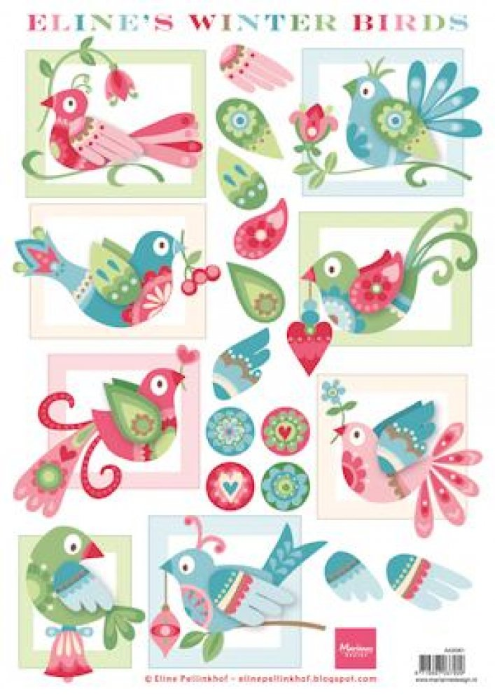 Marianne Design, knipvel Eline`s winter birds: AK0061