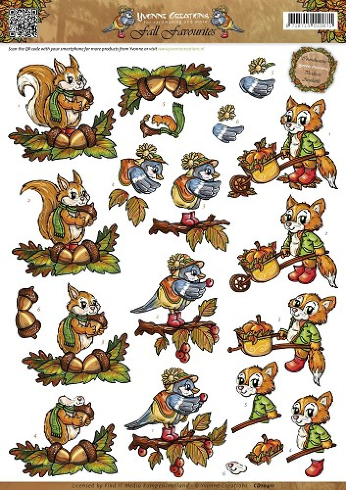 3d knipvel- Yvonne Creations- Fall Favourites- Autumn Animals: CD10411