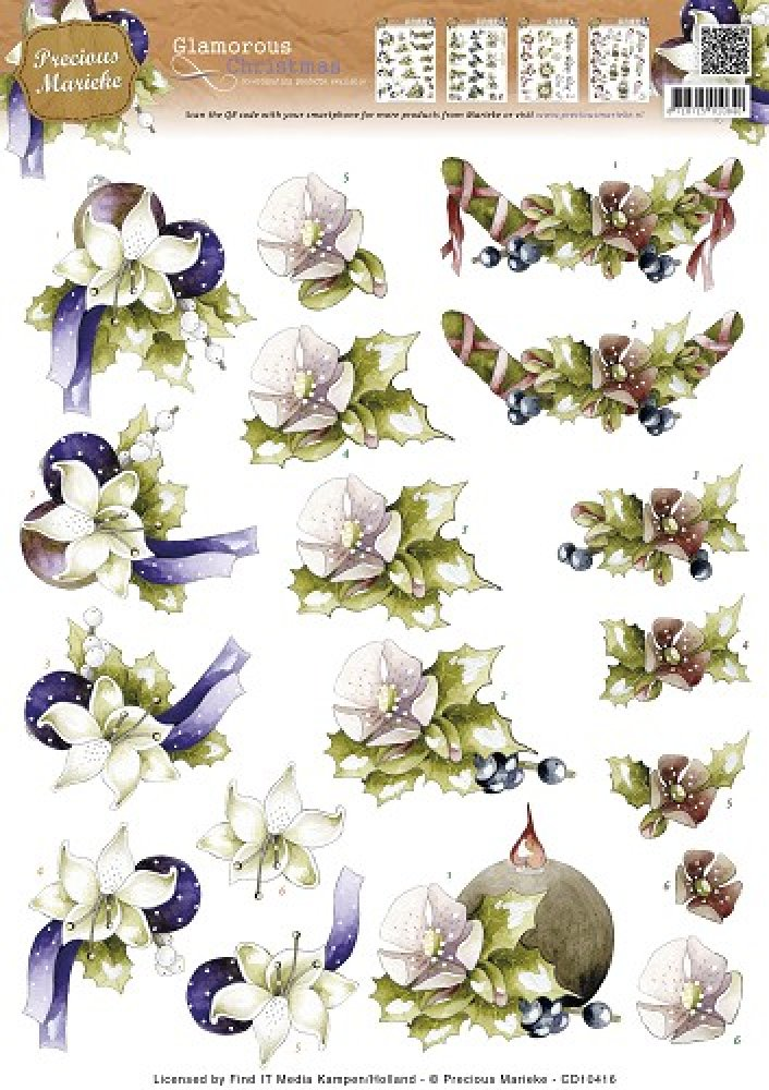 Precious Marieke- 3d knipvel-  Glamorous Christmas- Christmas Holly: CD10416