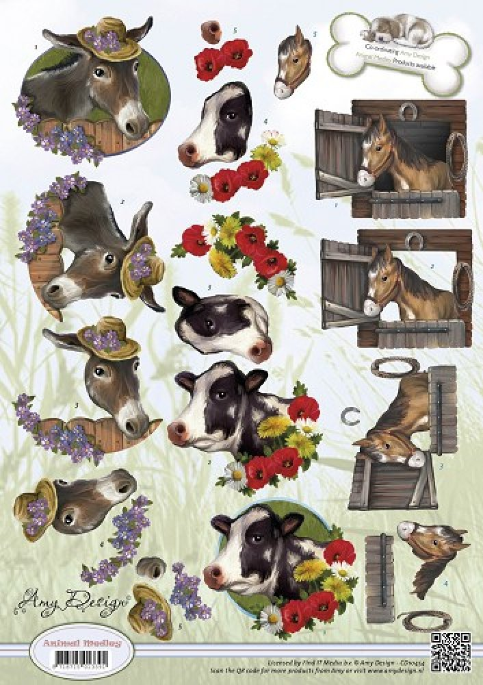 3d knipvel- Amy Design- Animal Medley- Farm Animals: CD10454