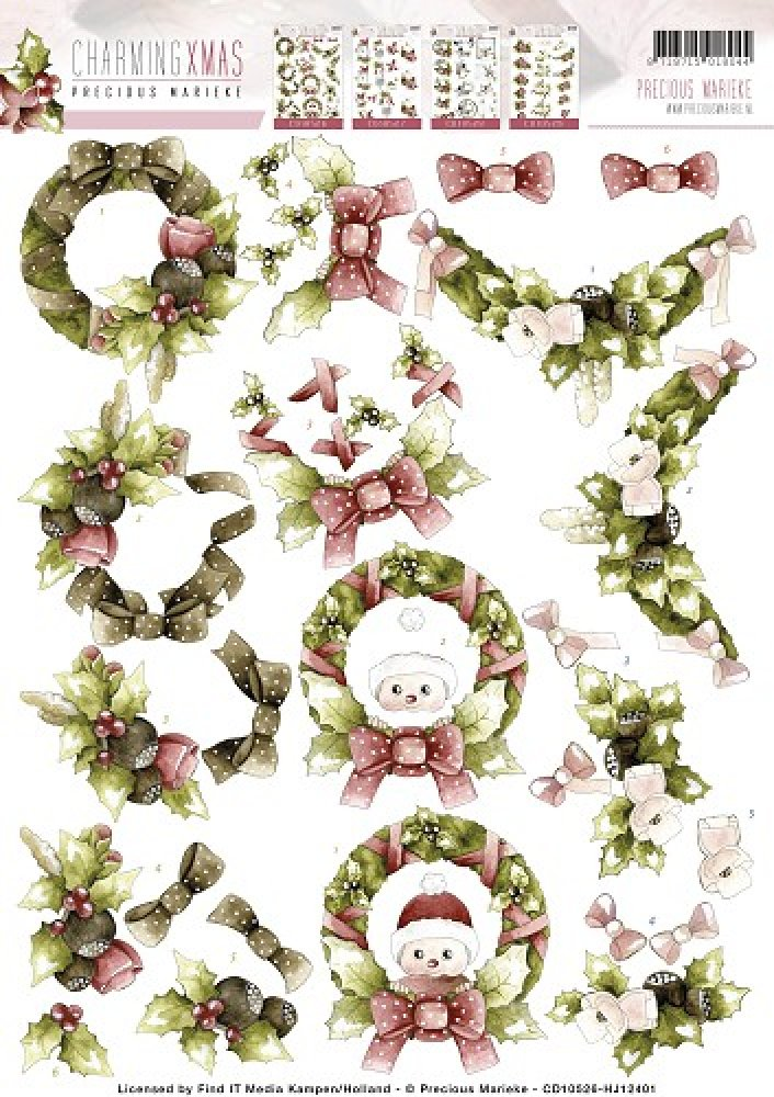 Precious Marieke- 3d knipvel Wreaths- Charming Christmas: CD10526