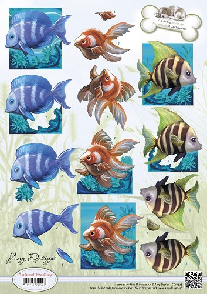 Amy Design- 3d knipvel- animal Medley- Tropical Fish: CD10538
