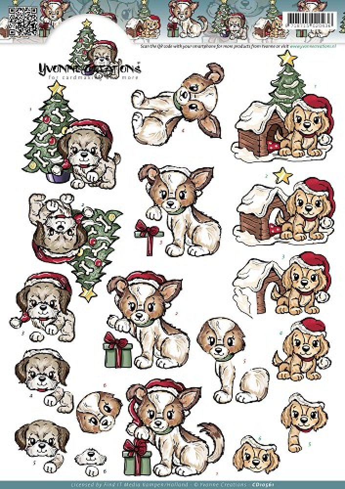 Yvonne Creations- 3d knipvel- Christmas Puppies: CD10561