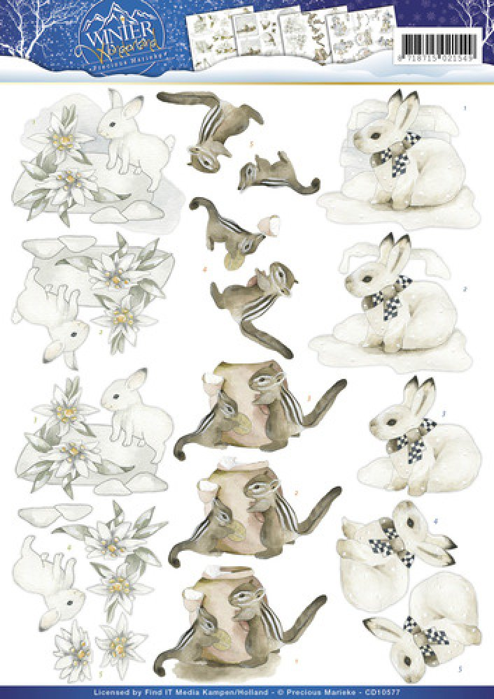 Precious Marieke- 3d knipvel- Winter Animals: CD10577