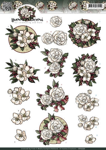 Yvonne Creations- 3d knipvel- White Christmas Flowers: CD10770