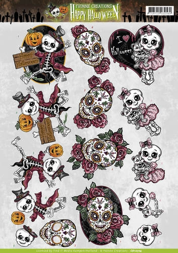 Yvonne Creations- 3d knipvel- Happy Halloween- Happy Skeletons: CD10774