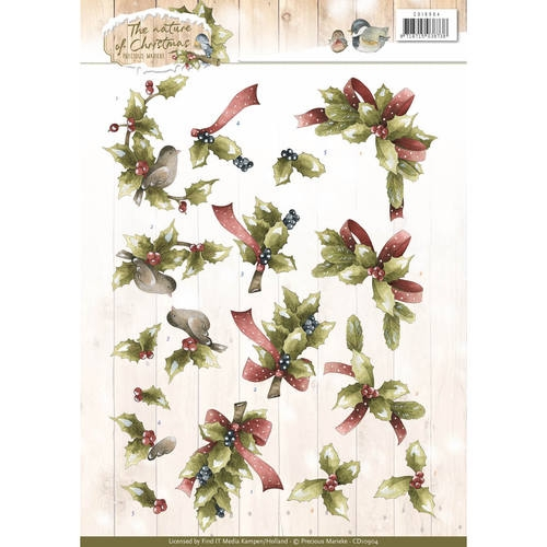 Precious Marieke- 3d Knipvel- Christmas Holly: CD10904
