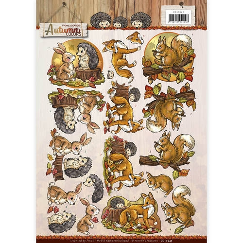 Yvonne Creations- 3d knipvel- Autumn Colors- Autumn Animals: CD10947