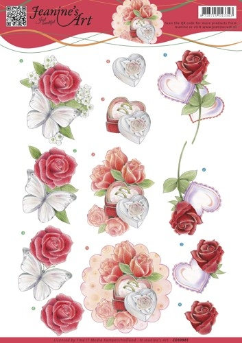 Jeanine's Art- 3d Knipvel- Roses and Hearts: CD10981