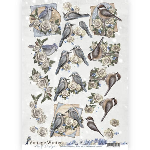 Amy Design- 3d Knipvel- Vintage Winter- Winterbirds: CD10984