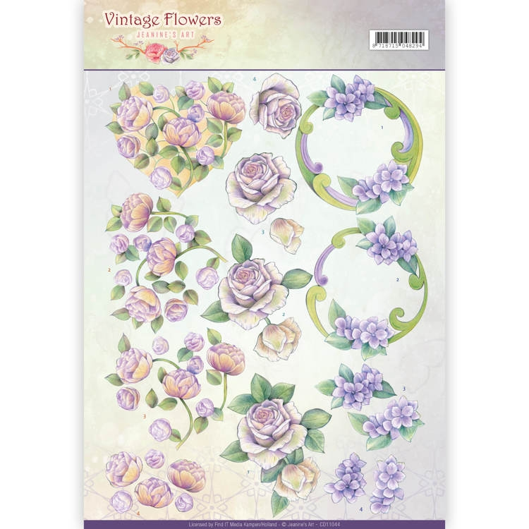 Jeanine's Art- 3D knipvel- Vintage Flowers- Romantic Purple: CD11044