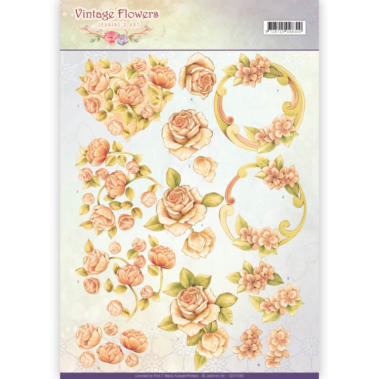 Jeanine's Art- 3D knipvel- Vintage Flowers- Romantic Vintage: CD11045