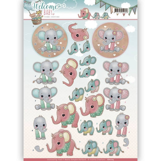 Yvonne Creations- 3D Knipvel- Welcome Baby- Little Elephants : CD11115