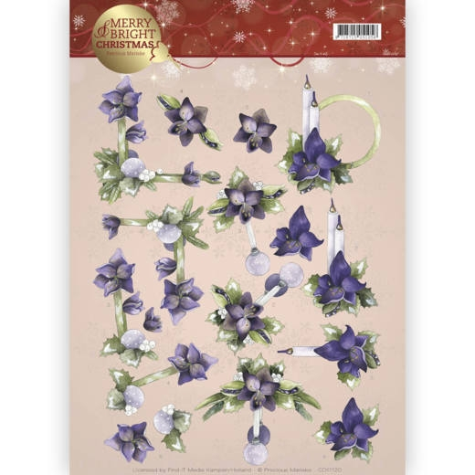 Precious Marieke- 3d Knipvel- Merry and Bright- Amaryllis in purple: CD11120