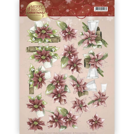 Precious Marieke- 3d Knipvel- Merry and Bright- Poinsetta in Red: CD11121