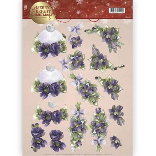 Precious Marieke- 3d Knipvel- Merry and Bright- Bouquets in purple: CD11123