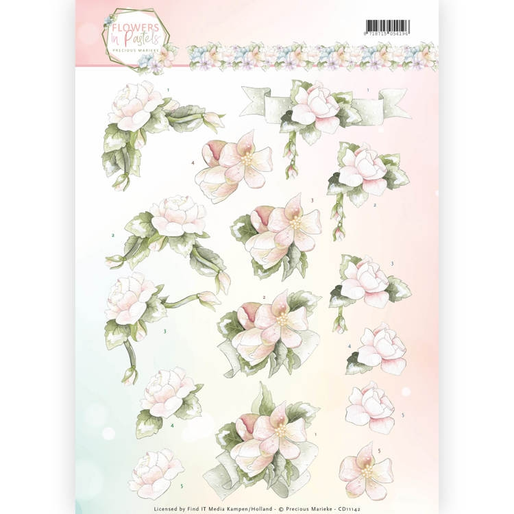 Precious Marieke- 3D Knipvel- Flower in Pastels- Believe in Pink: CD11142