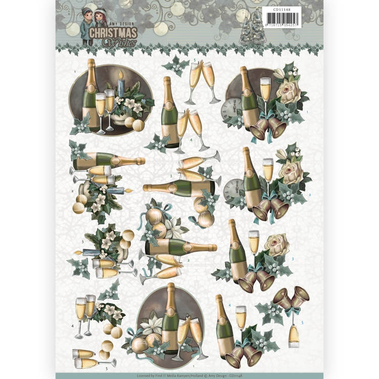 Amy Design- Knipvel- Christmas Wishes- Happy New Year: CD11148