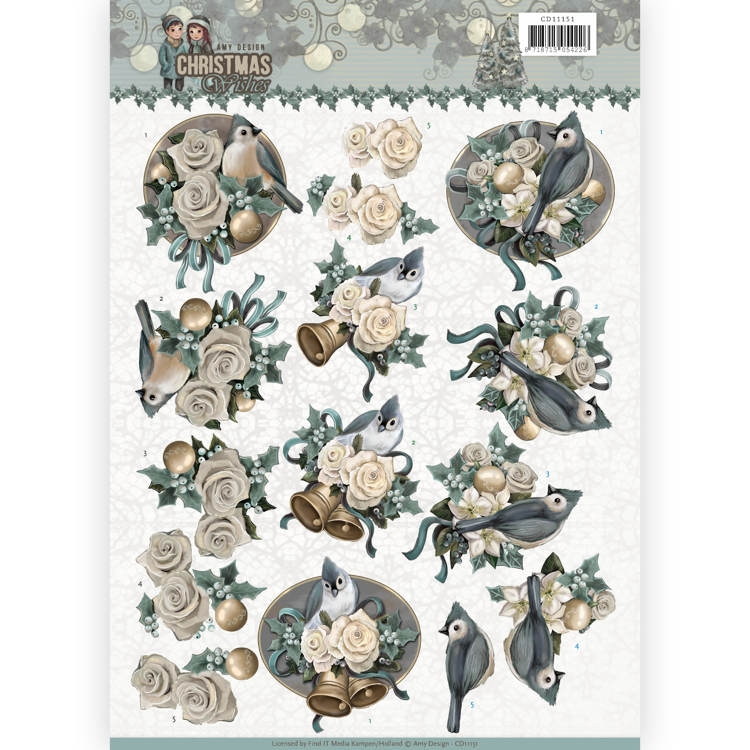 Amy Design- Knipvel- Christmas Wishes- Birds and Bells: CD11151