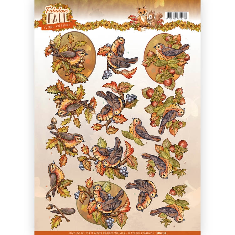 Yvonne Creations- Knipvel- Fall Birds : CD11156