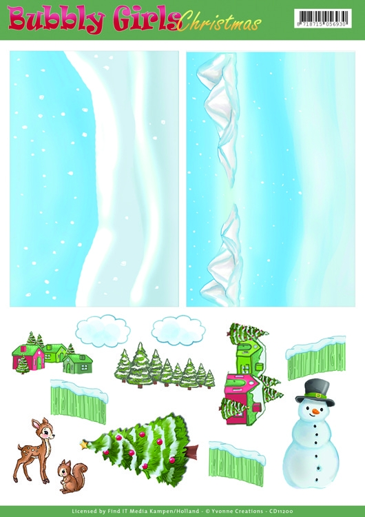 Yvonne Creations- Background Sheets- - Bubbly Girls Christmas- 1 : CD11200