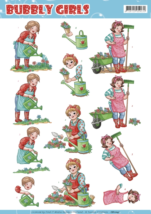 Yvonne Creations- 3D knipvel- Bubly Girls Gardening: CD11241
