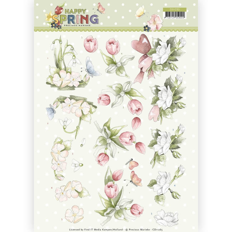 Precious Marieke- 3D Knipvel- Happy Spring Flowers: CD11265