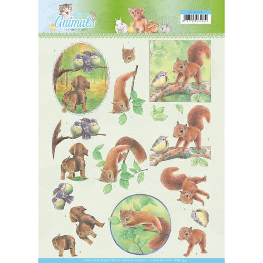 Jeanine's Art- 3D Knipvel- Young Animals- in the Forest: CD11273