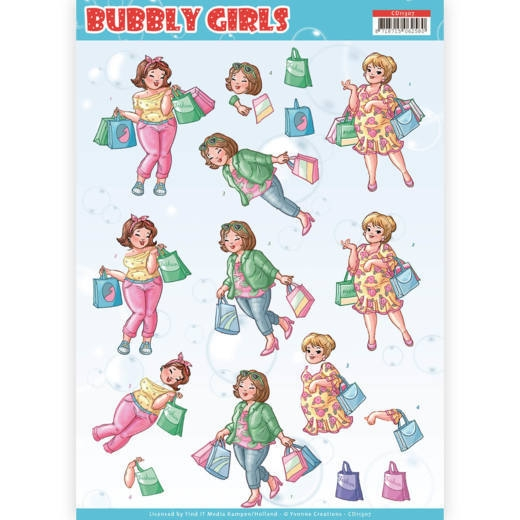 Yvonne Creations- 3D Knipvel- Bubbly Girls- Shopping: CD11307