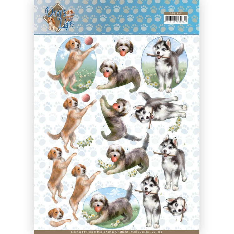 Amy Design- 3D Knipvel- Playing Dogs: CD11365