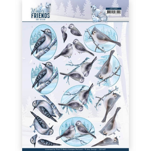 Amy Design- 3D Knipvel- Winter Friends- Sparkling Birds: CD11407