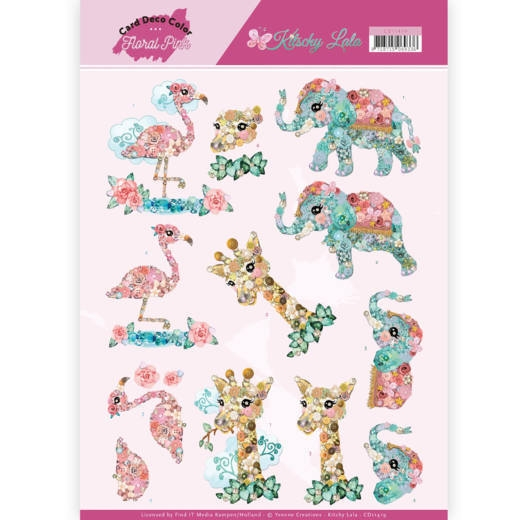 Yvonne Craetions- 3D Knipvel- Floral Pink- Kitschy Animals: CD11419