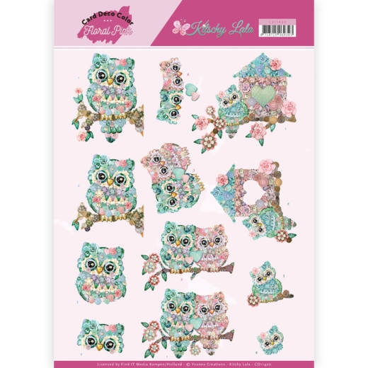Yvonne Craetions- 3D Knipvel- Floral Pink- Kitschy Owls: CD11420