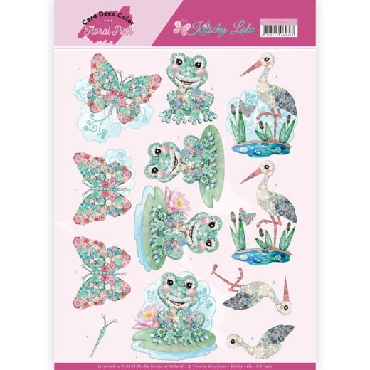 Yvonne Craetions- 3D Knipvel- Floral Pink- Kitschy Frog: CD11421