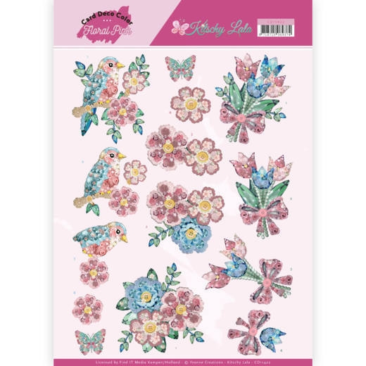 Yvonne Craetions- 3D Knipvel- Floral Pink- Kitschy FLower: CD11422