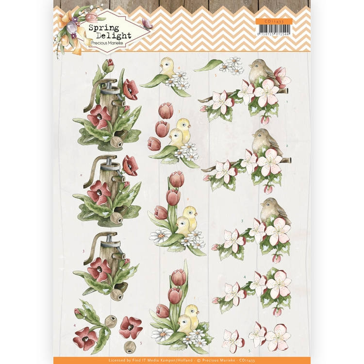 Precious Marieke- 3D Knipvel- Spring Delight- Red Flowers: CD11433