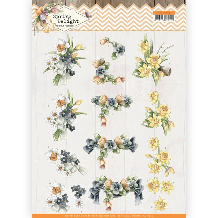 Precious Marieke- 3D Knipvel- Spring Delight- Violets and Daffodils: CD11434