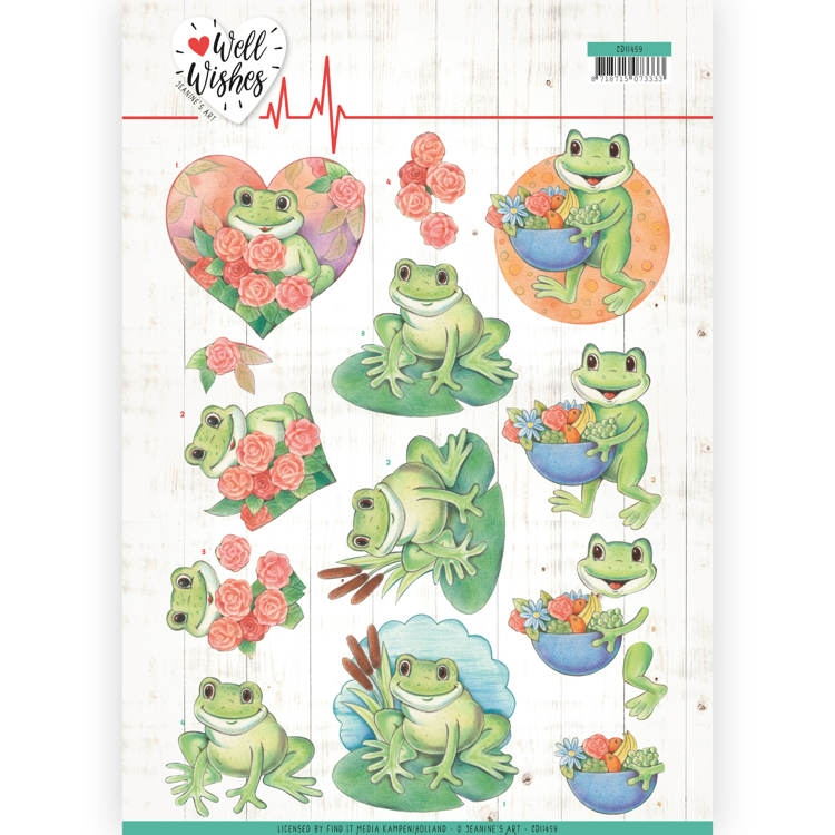 Jeanine's Art- 3D  Knipvel- Well wishes- Frogs: CD11459
