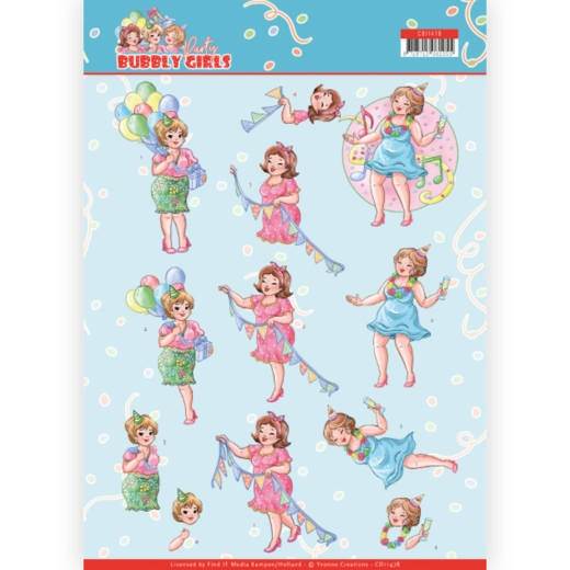 Yvonne Creations- 3D Knipvel- Bubbly Girls- Party Time: CD11478