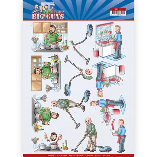 Yvonne Creations- 3D knipvel- Big Guys- Workers- Big Cleaning: CD11479