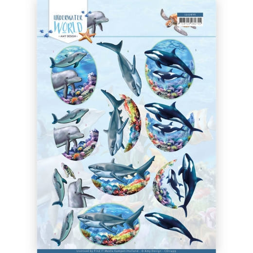 Amy Design- 3D Knipvel- Underwater World- Big Ocean Animals: CD11499