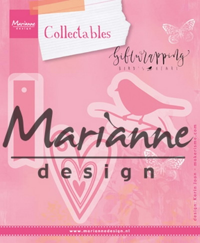 Marianne Design- Collectables- Giftwrapping- Bird, Hearts & Tag: COL1443