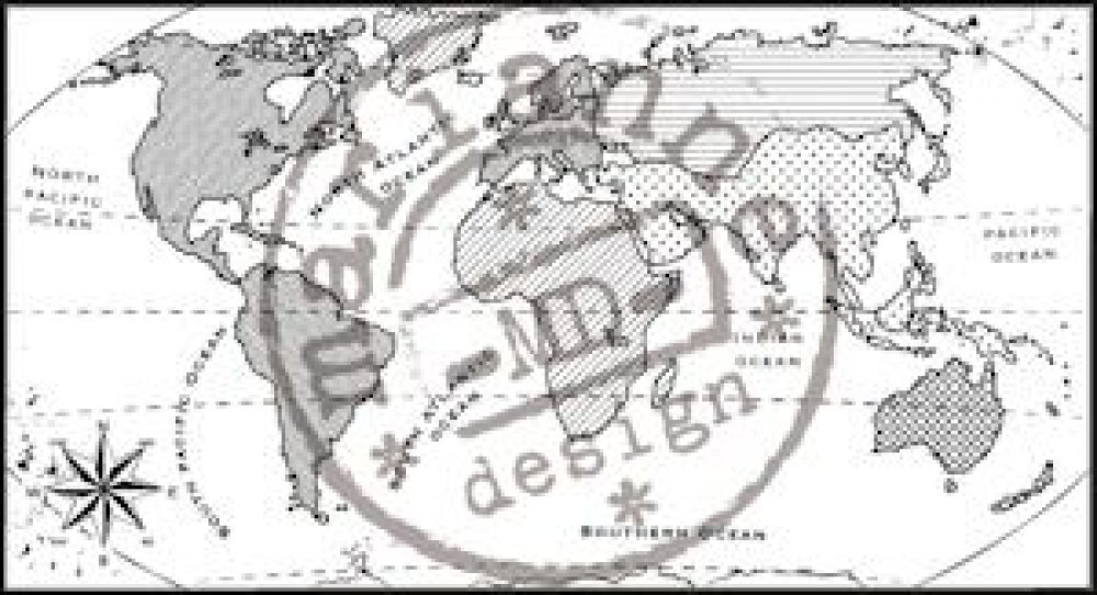 Marianne design- Clear stamp - map of the World: CS0913