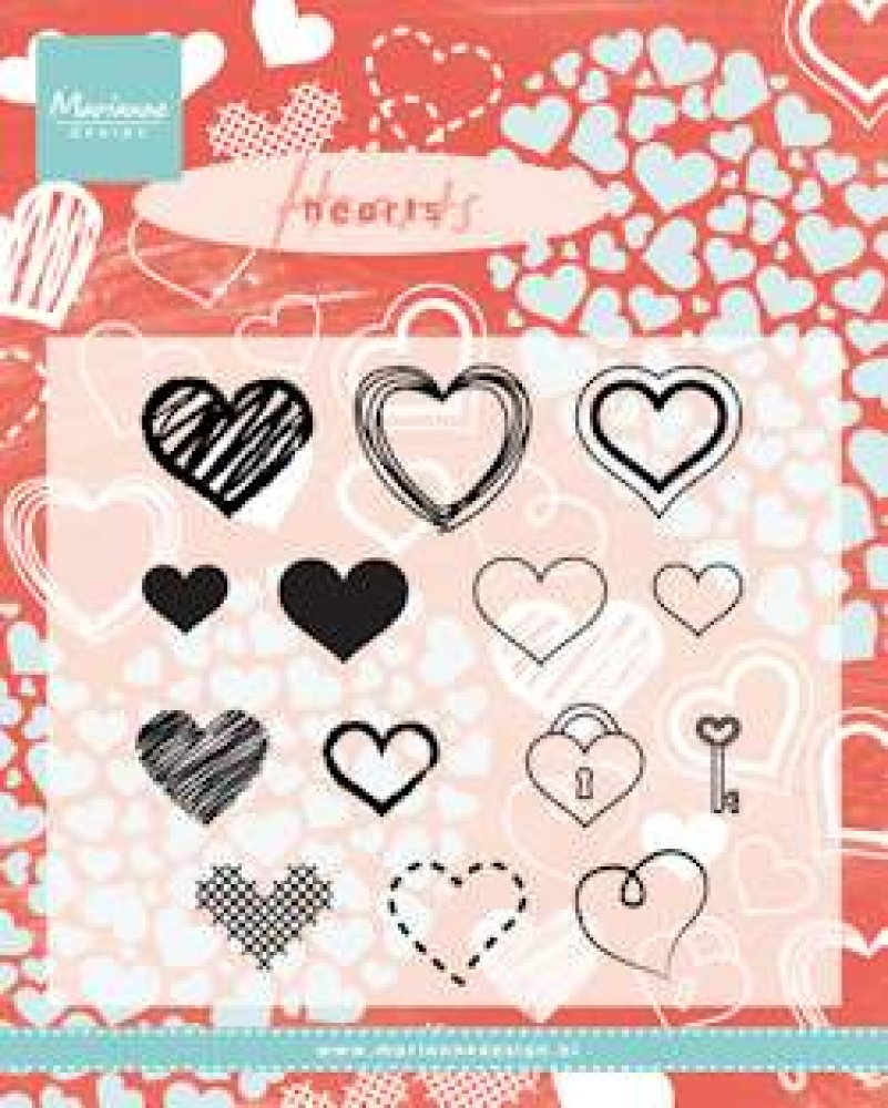 Marianne Design- Clear Stamp- Hearts set: CS0950