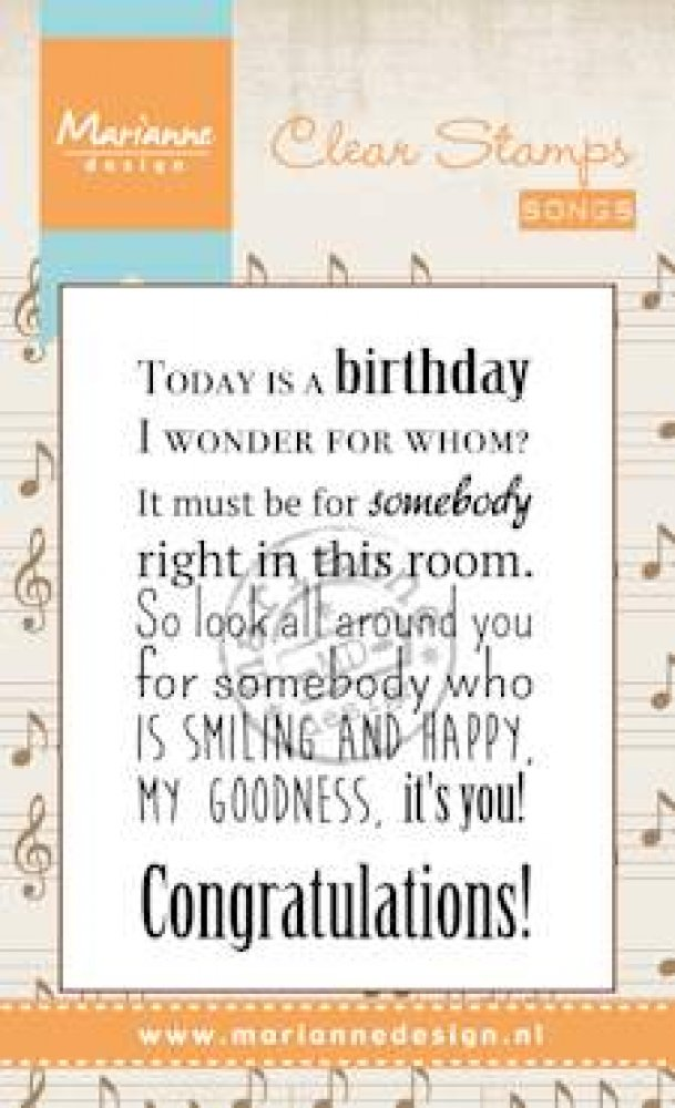 Marianne Design- Clear Stamp- Liedje, Today is a birthday: CS0965