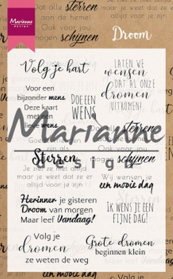 Marianne Design- Clearstempel- Droom teksten (NL): CS1019