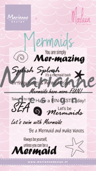 Marianne Design- Clear Stempel- Mermaid sentiments by Marleen: CS1025