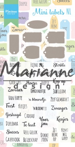 Marianne Design- Clear Stempel & Die set- Mini labels NL: CS1028