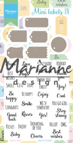 Marianne Design- Clear Stempel & Die set- Mini labels ENG: CS1029